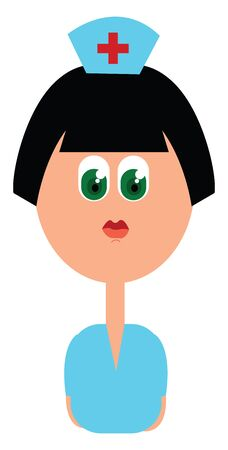 A cartoon nurse at the hospital dressed in her blue uniform with a plus sign printed in her cap has green eyes and looks beautiful  vector  color drawing or illustration Stock Illustratie