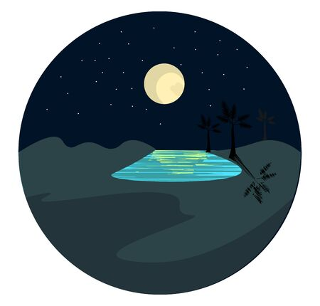 Portrait of an oasis  the fertile spot with water and a full moon over dark background  vector  color drawing or illustration Illustration