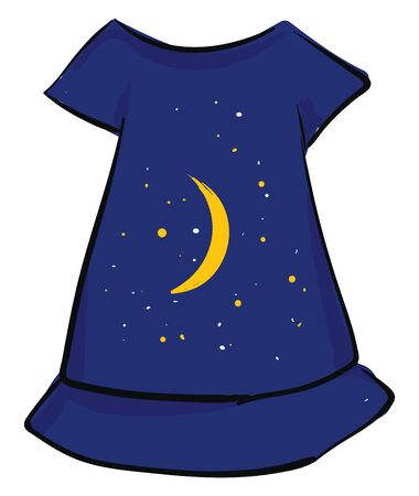Painting of a showcase blue-colored nightie with a round neck  a half extended sleeve and pretty tonal embroidery designs with moon and twinkling stars  vector  color drawing or illustration