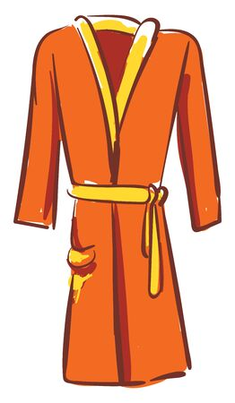 A showcase orange-colored bathrobe with the yellow belt loop at waist sides  contrast paneled piping and stitched detailing over the white background  vector  color drawing or illustration