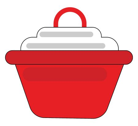 Clipart of a red-colored non-stick saucepan provided with a white lid furnished with a loop rests on the surface  vector  color drawing or illustration