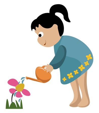 Portrait of a small girl in a blue gown  high ponytail  watering the flowers in the garden looks so cute and beautiful  vector  color drawing or illustration Ilustração