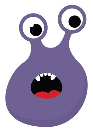 Cartoon funny purple monster with two eyes and exposing red tongue and its five white teeth while surprised   vector  color drawing or illustration