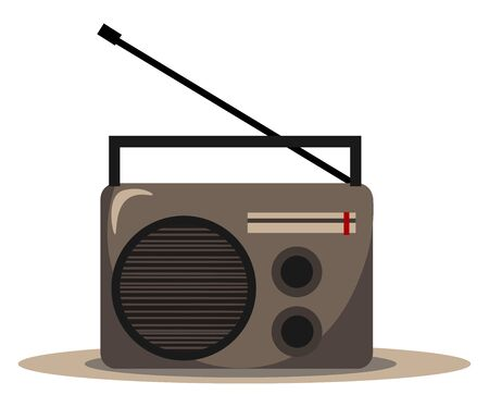 Clipart of FM radio audio player featured with few buttons and an antenna available to select radio channels and MP3 music  vector  color drawing or illustration