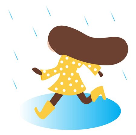 Clipart of the side pose of a small girl dressed in a yellow-colored dress with white polka design running in her loose hair to get out of the rain vector color drawing or illustration