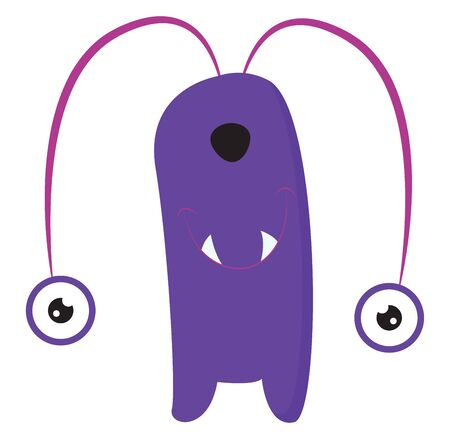 Cartoon purple monster with a rectangular-shaped body  two round eyes hanging down  two fang-like white teeth and a black nose looks funny  vector  color drawing or illustration