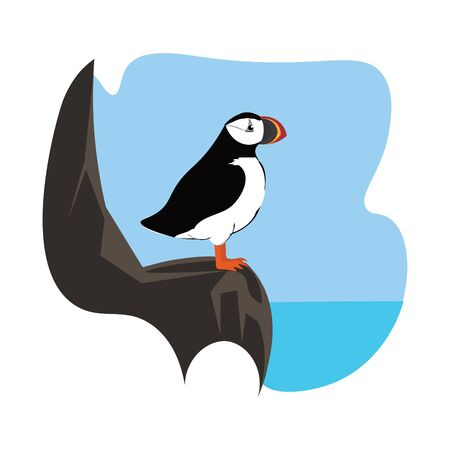Portrait of a puffin bird in white and black has a colorful stout beak and perched on the rock over a background where the line meets the sea  vector  color drawing or illustration