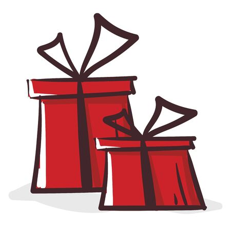 Clipart of two red-colored rectangular gift boxes tied individually with black ribbons and topped with bows vector color drawing or illustration