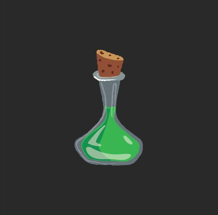 Portrait of a conical flask containing poison with brown cork stopper over dark background  vector  color drawing or illustration