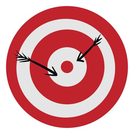 Clipart of a red-colored bullseye  the center of the target in shooting  shot by two black arrows  vector  color drawing or illustration