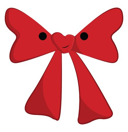 Clipart of a red bow tie with a white exclamation mark is ready to be tied around the collar of a person's shirt  vector  color drawing or illustration