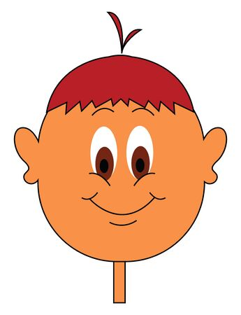 Clipart of a boy in red hair color and tufts of hair at the center  eyes rolled down  and a stick-like neck is smiling  vector  color drawing or illustration