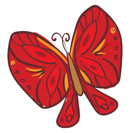 Clipart of a butterfly with two pairs of large  typically brightly red-colored wings covered with microscopic scales of different patterns  vector  color drawing or illustration Ilustrace