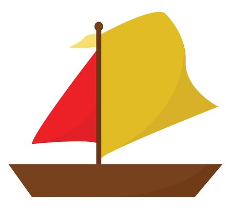 Clipart of a boat with the stem and hull in brown color  jib in red color  and mainsail in red color is ready to sail across the sea carrying passengers  vector  color drawing or illustration  イラスト・ベクター素材
