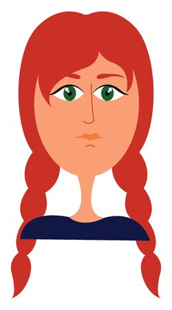 Clipart of a beautiful girl in purple dress and green eyes with a pigtail plaited hairstyle and her long orange hair flowing along the sides of her body  vector  color drawing or illustration