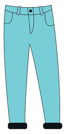 Portrait of a showcase blue-colored pant designed with two front pockets is perfect for high days and holidays  vector  color drawing or illustration