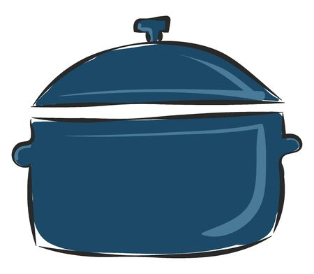 Clipart of a blue-colored non-stick saucepan provided with a lid furnished rests on the surface  vector  color drawing or illustration