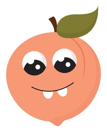 Emoji of a peach fruit with two big eyes rolled down  two projecting white teeth  a leaf on a short stalk  has a closed smile turning up to cheeks  vector  color drawing or illustration Çizim