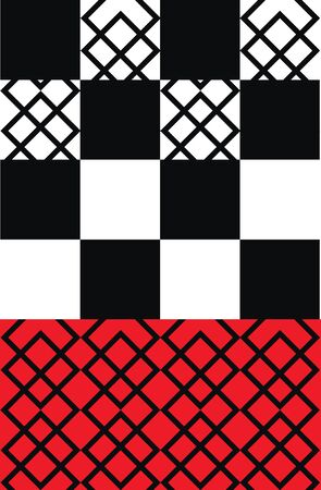 A pattern with designs  divided into alternate white and black square in the top  a rectangular red bottom at the base  looks beautiful  vector  color drawing or illustration