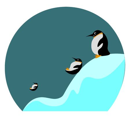 Cartoon picture of three penguins sliding and playing in the ice looks beautiful  vector  color drawing or illustration