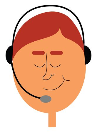 A telephone operator with his black-colored headset has dyed his hair and eyebrows in red  with his eyes closed has a smirk expression on his face  vector  color drawing or illustration
