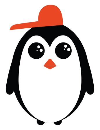A penguin in a red hat turned sideways with black upperparts and white underparts and wings  beak in orange color  eyes rolled up  looks happy  vector  color drawing or illustration