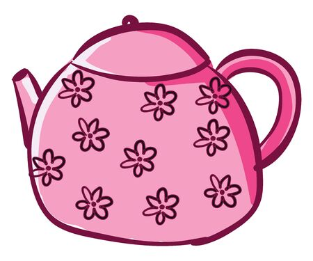Clipart of a pink-colored kettle with floral designs has a lid  a spout  a handle to carry easily   vector  color drawing or illustration