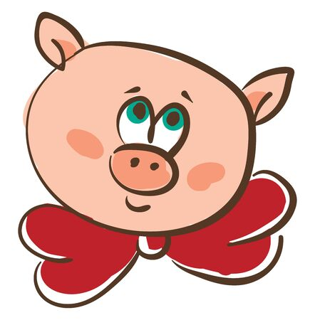 Drawing of the face of a pink pig in a red-colored neck bowtie with green eyes rolled up is smiling  vector  color drawing or illustration