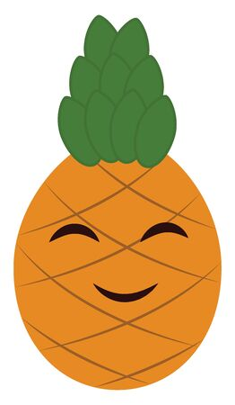 A brown-colored cartoon pineapple surrounded by a tough segmented crossed skin and topped with a tuft of stiff green leaves is smiling  vector  color drawing or illustration