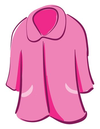 Clipart of a showcase pink-colored nightie with collars  contrast paneled piping and stitched detailing over the white background  vector  color drawing or illustration