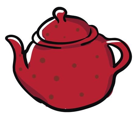 Clipart of a red kettle designed with black polka dots has a lid  a spout  and a handle to carry easily   vector  color drawing or illustration