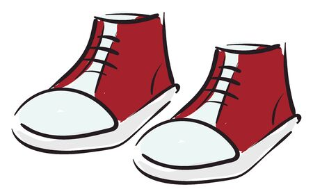 Clipart of a pair of red-keds shoes tied with black laces has a white base over white background vector color drawing or illustration Vetores