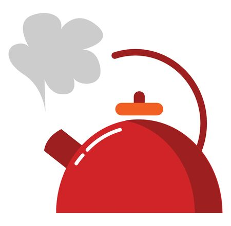 A red kettle designed with a white-colored exclamation mark filled with a hot drink has a slightly opened lid in combinations of orange and red  a spout  vector  color drawing or illustration
