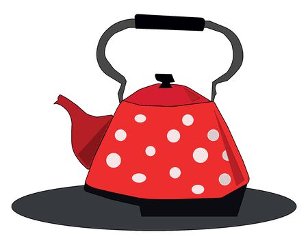 Clipart of a red kettle designed with white polka dots has a lid  a spout  a black-colored handle to carry easily   vector  color drawing or illustration 写真素材 - 132667122