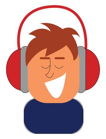 Clipart of a small boy in a blue shirt laughs while enjoying music with his red headphones  vector  color drawing or illustration
