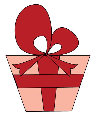 Clipart of a red-colored gift box tied with red dark-red colored ribbon and topped with dark-red colored bow well-suited for special days  vector  color drawing or illustration