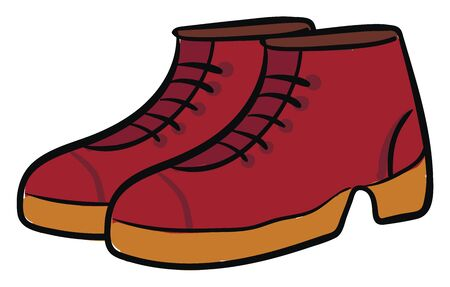 Clipart of a pair of red-colored cut shoes with high pointed heals that adds beauty to the woman or lady wearing it  vector  color drawing or illustration Иллюстрация