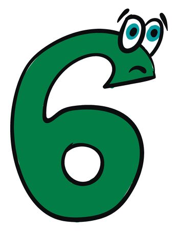 Emoji of the number six in green color with two bulging eyes express sadness  vector  color drawing or illustration 일러스트
