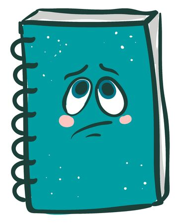 Emoji of a spring wire bound blue-colored notebook express sadness while standing upright  vector  color drawing or illustration 矢量图像