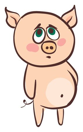 Emoji of a sad rose-colored pig with a protruding belly and a short black tail coiled at its back expresses sadness while standing  vector  color drawing or illustration