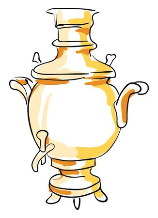 Sketch of a highly decorated tea urn brown in color with a lid  handles  small tap to its front  and equipped with legs for the whole set-up to stand  vector  color drawing or illustration