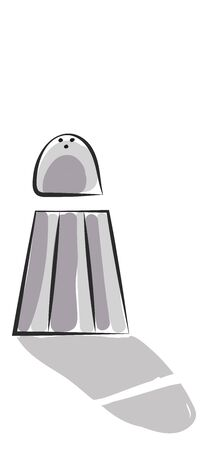Clipart of grey-colored salt shaker with few pores or holes on the screw cap is slightly lifted and used widely to season foods  vector  color drawing or illustration
