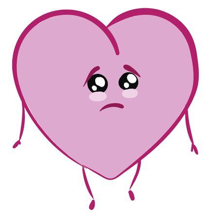 Emoji eines traurigen rosafarbenen Herzens mit Händen und Blicken stehen in Verzweiflung, Vektorfarbzeichnung oder Illustration Vektorgrafik