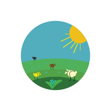 Painting of few sheep of different colored wools black  brown  white  yellow  grazing in the meadow while the sun rising above them  vector  color drawing or illustration