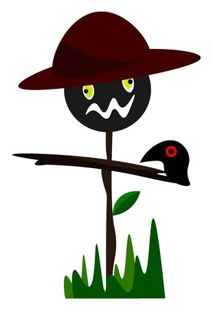 An object made out of a wooden stick frame and old clothes to resemble a human figure wearing a hat is set up on the farm to scare birds away from the crops  vector  color drawing or illustration