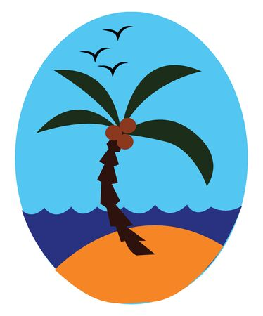 Sea with a palm tree having a crown of very long feathered or fan-shaped leaves bearing few coconuts above the land and few birds flying high up the sky  vector  color drawing or illustration