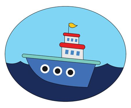 A beautiful blue cartoon ship sailing across the sea with a yellow colored flag that unfurls in the wind and a clear blue sky completes the background  vector  color drawing or illustration
