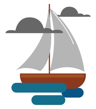 Clipart of a ship with the stem and hull in brown color  jib  and mainsail in grey color is a historic tall ship and sails across the sea on a cloudy day  vector  color drawing or illustration