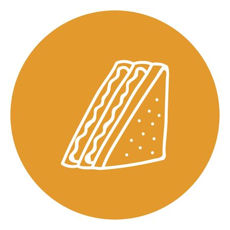 Sketch of a white-colored sandwich consisting of two pieces of bread with a filling between them is yummy and delicious  vector  color drawing or illustration