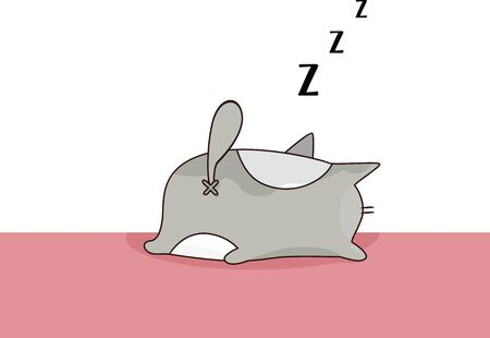 Emoji of a grey-colored cat snoring while sleeping on a pink-colored cushion bedstead vector color drawing or illustration